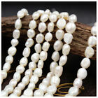 7mm Natural White Freshwater Pearl Baroque Pearl Heteromorphic Loose Beads 14 In