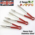 2 Professional BBQ Tongs Catering Quality Stainless Steel Salad Cooking Serving