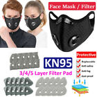 Reusable Face Mask Mouth Covers With Breathing Valves & Activated Carbon Filter