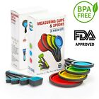 Collapsible Measuring Cups and Spoons Set- 8 Pcs Silicone Cups and Spoons