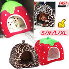 Soft Strawberry Pet Cat Dog Fleece Washable Igloo Bed Pyramid Cozy Kennel House