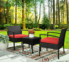 3pcs Wicker Rattan Patio Furniture Conversation Sofa Bistro Set Outdoor Chairs
