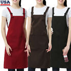 Men Women Chefs Apron With Pockets Catering Baking Butcher Kitchen Aprons - Us