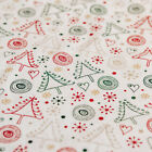 Sketched Modern Christmas Trees Stars Print 100% Cotton Fabric on Cream & Gold