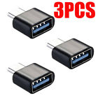 3 Pack USB-C Type C Male to USB Type A Female OTG Adapter Data Converter