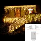 LED Curtain Icicle String Lights Christmas Holiday Garland Xmas Light Deco