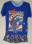Boys Girls  Blue Superman KKRUNCH Shorts & T-Shirt Pyjamas Set Age 2 3 4 5 6 7 8