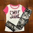 NWT JUSTICE GIRLS 8 12 OUTFIT~GRAPHIC RINGER TEE /CAMO FOIL MESH LEGGINGS
