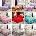 Cotton Single/Queen/King SizeFitted Bed Sheet Floral Printed Bed Skirt Bedspread