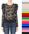 Women's All Over Sheer Lace Puff Statement Long Sleeve Top Shirt Stretchy Solid