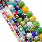 Mixed Millefiori Flower Lampwork Glass Charms Beads 4mm 6mm 8mm