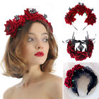 Bridal Headpiece Hair Wreath Halloween Headbands Wedding Garland Red Rose Crown