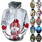Unisex Christmas Ugly Hoodie Long Sleeve Hooded Pullover Sweatshirt Jumper Top