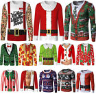 Mens Xmas Christmas Funny Printed Long Sleeve T-Shirts Casual Jumper Tops Blouse