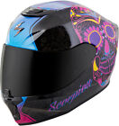 Scorpion Adult Black/Pink EXO-R420 Sugarskull Full Face Motorcycle Helmet Snell