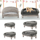 Handmade Wicker Half Moon Raised Pet Cat Dog Sofa Couch Blanket Bed Cushion Grey