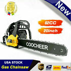 COOCHEER 62CC 20 Gas Chainsaw Handed Petrol Chain Woodcutting 2 Cycle 4HP e 240