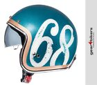 MT Le Mans 2 Hipster Green Orange Motorcycle Scooter Helmet Retro Classic 68