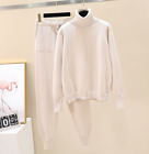 Womens Cashmere Knitted Turtleneck Sweater Pants 2Pcs Casual Knitwear Suit New