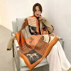 Over-sized Imitation Cashmere Shawl Wrap Warm Scarf War Horse printed Blanket