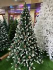 Christmas Tree Artificial with Snow Frosted Tips and Pine Cones 5ft, 6ft