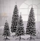 Christmas Tree Artificial with Snow Frosted Tips Slim Pencil Shape 4ft, 5ft