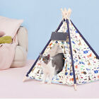 Portable Canvas Pet Teepee Tent Foldable Cat Bed Dog Removable Washable Cushion