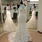 Mermaid Real Images Vintage Full LaceWedding Dresses High Neck Bridal Gowns