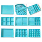 Blue Stackable Velvet Jewelry Tray Organizer for Necklace Cosmetics Box