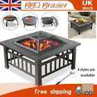 BBQ Fire Pit Large Firepit Brazier Square Stove Patio Heater For Outdoor Garden
