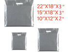 NEW SILVER COLOURED PATCH HANDLE PLASTIC CARRIER BAGS RETAIL SHOP STORE