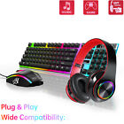 Gaming Kits Gamer Wireless Colorful LED Light Keyboard Mouse Headphones Headset