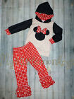 NEW Minnie Mouse Hooded Sweatshirt Ruffle Leggings Girls Boutique Outfit Set