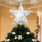 Christmas Tree Star Topper Lighted Silver Glitter 3D Snowflake Projector Dekor
