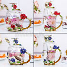 Crystal Glass Enamel Rose Flower Red Tall Drinking Tea Cups Juice Coffee Mugs US
