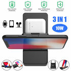 10W Qi Wireless Fast Charger 3in1 Charging Dock Station Foldable For IOS Android