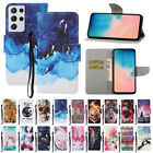 For Samsung S21 Ultra S20 FE S10 + Painted Leather Flip Wallet Phone Case Cover