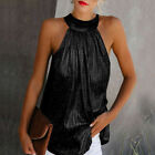 Women Summer Sexy Halter Zipper Party T Shirt Club Solid Tank Top Loose Blouse