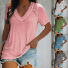 Summer Women V Neck Short Sleeve T Shirt Casual Tunic Top Loose Fit Solid Blouse