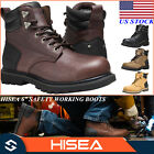 HISEA Men's Work Boots Genuine Leather Round Toe Lace Up Safety Working Shoes