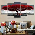 5 Pcs Canvas Print Modern Red Tree Scenery Bench Wall Art Painting Office Decor