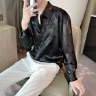 Mens Floral Lapel Collar Shirt Casual Long Sleeves Button Front Satin Embroidery