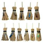 Mini Broom Straw Witch Brooms with Crystal Pendant Decorations for Halloween