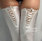 WHITE LACE UP TOP OPAQUE SPANDEX STOCKINGS XS-XXXL Tall