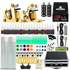 Tattoo Kit 2 Machine Gun Color ink Tip Power Supply Set 50 Needles Grip 10-24GD
