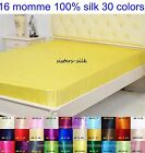 1 PC 16MM 100% PURE SILK CHARMEUSE EXTRA DEEP FITTED SHEET ALL SIZE 30 COLOURS