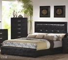 NEW DYLAN BLACK BYCAST LEATHER WOOD LOW PROFILE BED