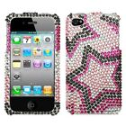 iPHONE 4 4G 4S - Crystal Diamond Bling HARD CASE COVER PINK STARS