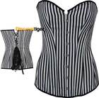 Corset Top Dress Extra Long Torso Style Wide Stripes Black White New DTS00627