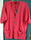 Talbots Coral Cardigan SS Sweater Crystal Buttons PLUS